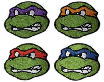 4 TMNT Patches (2.5 Inch) Embroidered Iron / Sew on Badge Applique Teenage Mutant Ninja Turtles Souvenir Retro DIY Costume Blue, Red, Orange