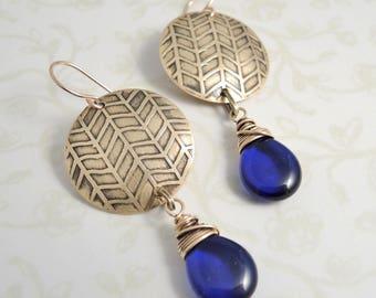Etched Brass Earrings - Brass and Cobalt Blue Earrings - Blue Teardrop Earrings