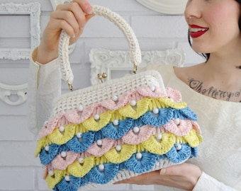 Vintage Raffia Beaded Handbag in Pink Blue and Yellow by Simon