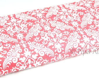 Cotton Fabric, Coral and White Damask Fabric, by Riley Blake, Quilting Fabric ~ By The Half Yard