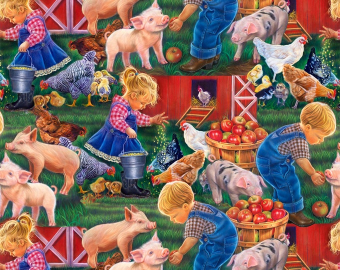 LITTLE FARM CHILDREN Digitally Printed Cotton Fabric by David Textiles 44 Inches Wide
