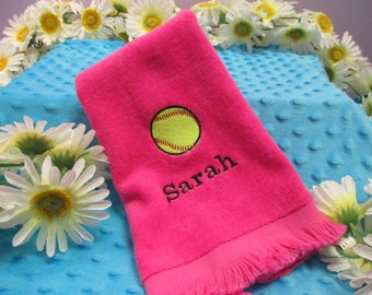 Fingertip Towel Personalized Softball-FREE SHIPPING