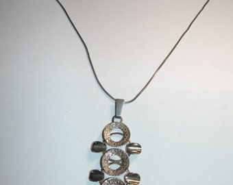 P345 Vintage Estate Artisan Contemporary Modernist MOD Circles Pendant Choker Necklace Sterling Silver Jewelry 925 835 Jewellery for Her