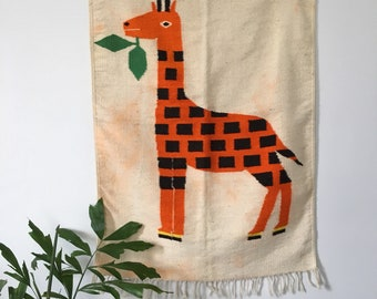 woven wool giraffe tapestry