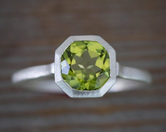 Peridot Ring in August Birthstone, Octagonal Asscher Gemstone Ring, Apple Green Stone Ring, Recycled and Handcrafted Customized Jewelry