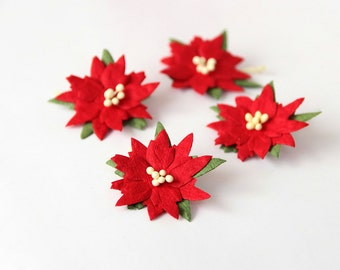 50 pcs - Red medium poinsettia flowers / handmade muberry paper flowers / wholesale pack