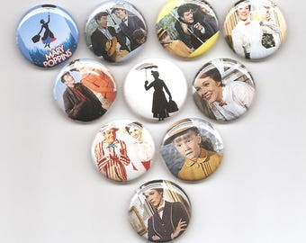 Mary Poppins Set of 10 Pins Button Badge Pinback