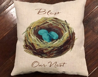 Bless our nest -pillow cover