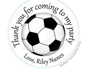 Stickers football, fête personnalisé imprimé ronds autocollants, d'étiquettes ou enveloppes joints A932