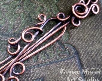 Copper Shawl Pin.  Copper Barrette Wire Wrapped Copper Hair Pin
