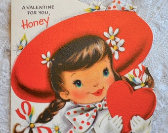 Vintage Valentines Day Card - Girl in Red Hat with Heart - Used Hallmark