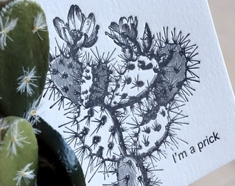 Cactus love, succulent, Apology card, sorry card, Card for him, Male card, I'm a prick,  cactus illustration black & white, cactus flower