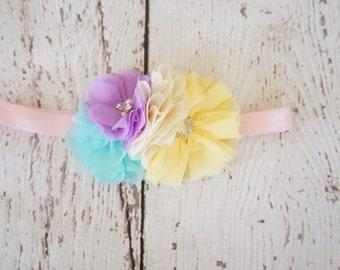 Rainbow pastel headband, baby headband, lace headband, shabby chic headband,headband, pink and mint headband, hair clip, girls headband