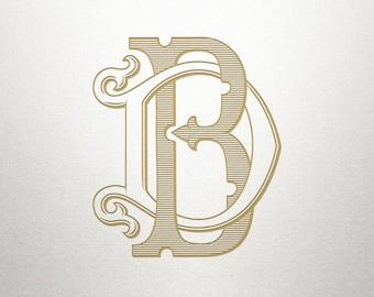 Wedding Invitation Monogram - BD DB - Invitation Monogram - Vintage