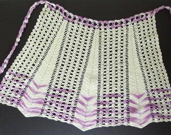 Vintage Purple Crocheted Half Apron, Handmade Lace Apron, Modern Size 8 to 18