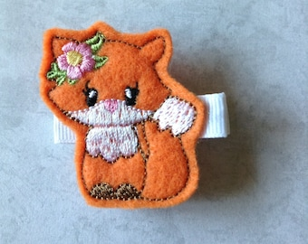 Felt Embroidered Fox Hair Clip, Toddlers Hair Clips, Girls Hair Bows, Clippies, Felties, Hair Clips, Hair Bows, Fox, Woodland, Felt Fox