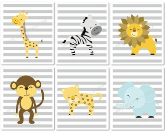 Jungle Nursery Wall Art Giraffe Lion Elephant Zebra Monkey Set of 6 Printable Wall Art Instant Download Safari Zoo Animals Baby Boy Bedroom