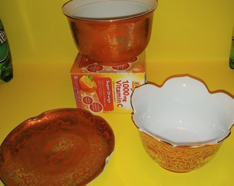 Vintage OMC Japan noodle/rice 2 Bowls & 1 Plate Orange with Handpainted Gold Dragons Otagiri Mercantile Company