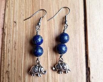 Elephant earrings | Elephant jewelry | Silver elephant | Lapis Lazuli jewelry | Gemstone earrings | Gemstone jewelry | Animal jewelry |Lapis