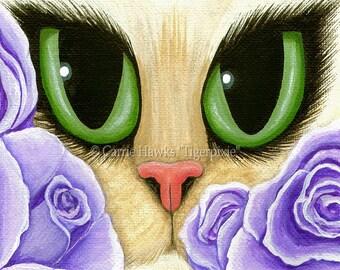 Cat Fantasy Art Lavender Roses Cat Painting Big Green Eyes Cat Portrait Fantasy Cat Art Print 8x10 Cat Lovers Art