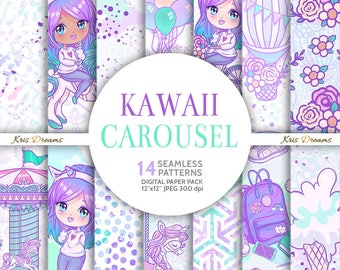 Kawaii, Chibi, Rainbow Hair, Carousel, Digital Paper, Seamless Pattern, Unicorn, Merry Go Round, Fair, Hot Air Balloon, Bike, Flowers,