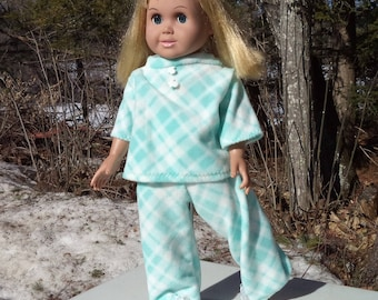 "18"" aqua green fleece footed doll pajamas, diamond pattern doll jammies, two piece pajamas, 3/4 sleeve aqua pjs, footed doll pajamas,"