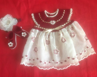 Newborn Baby Girl Dress Set - Burgundy