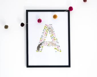 Letter 'A' Art Print, Signed Initial Illustration