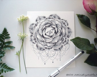 Ornate Hand Drawn Camellia Mandala- Original Artwork- Pen and Ink Stippling Design