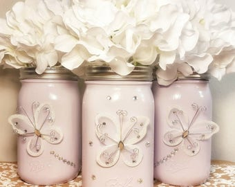 Butterfly - Mother's Day - Purple Wedding - Girl Baby Shower - Sweet 16 Decoration - Sweet 16 Centerpiece - Wedding Table - Purple Mason Jar