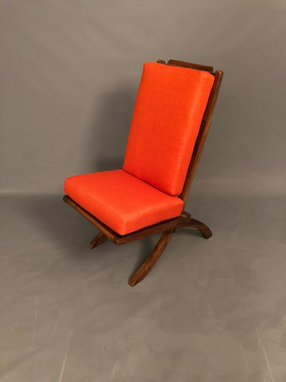 Mid-Century folding accent walnut chair restored