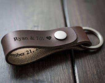 Customized Keychain, Personalized Keychain, Leather Key Chain, Custom Keychain - Chocolate