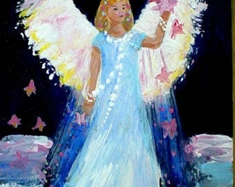 Original Painting * ANGEL AND STARS  * On Wood Plaque * Art by Rodriguez * Angel Decor * Small Art Format