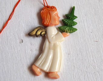 Vintage Christmas angel with tree ornament plastic celluloid no 3
