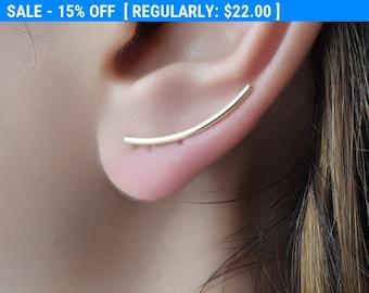 Minimal Ear Climber , Gold Ear Cuff , Climbing Earrings , Ear Crawler Minimalist Earrings , Climber Earring , Ear Cuff , Geometric Earrings