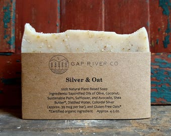 Silver and Oat - Gluten Free Unscented Soap with Colloidal Silver, Antiseptic and Antifungal - Natural and Vegan