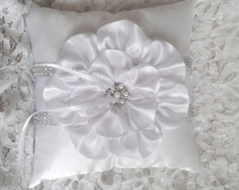 White Satin Ring Bearer Pillow, White Flower and Trim, Rhinestone Mesh Trim, Wedding Pillow, Ring Pillow, Bling Ring Bearer Pillow