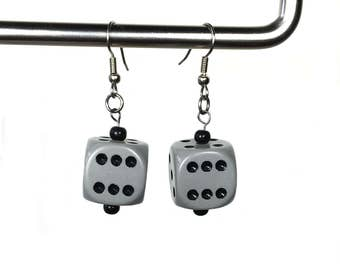 Dice Earrings in Gray and Black, d6 earrings