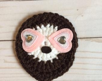 Sloth appliqué , sloth valentines , heart sloth, valentines sloth, crochet sloth, sloth patch, love sloth, sloth
