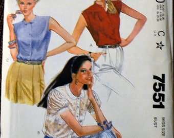 Vintage Sewing Pattern McCall's 7551 80's Misses' Blouses  Size 12 Bust 34  Complete Uncut FF