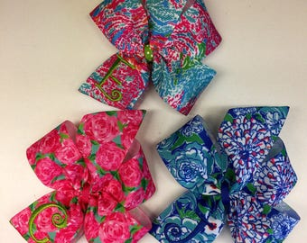 Any Initial, Set of 3 Hair Bows, Monogram Floral, Summer Ribbons, Thread Embroidered, Monogrammed Gifts, Spring Flowers, Girls lot, Hairbows