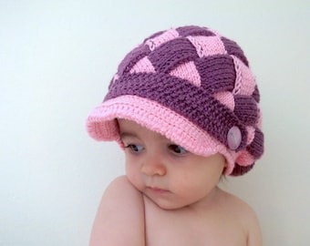 Grape Juice and Pink Slouchy Newsboy Cap-Colored girl's slouch hat-Behind baggy beret