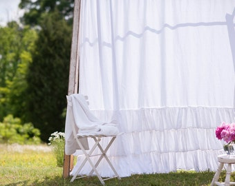 Ruffled Linen Triple Ruffled Shower Curtain