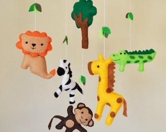 Hanging Jungle Safari Baby Mobile - Eco Friendly - giraffe, monkey, zepra, lion, and crocodile