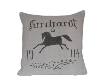 French Country 1904 Equestrian  grain sack pillow