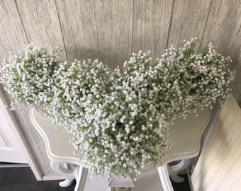 Artificial baby breath bouquet finished with lace - Price is for 1 bouquet