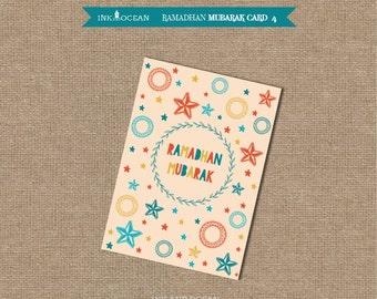 Printable Ramadhan Mubarak card Instant Download, printable