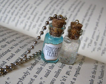 Unicorn Tears 1ml Glass Bottle Necklace Charm - Cork Vial Pendant - Cute Unicorns Magic