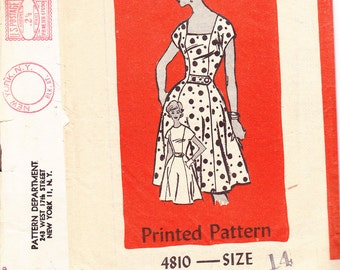 Mail Order 4810 Size 14 Dress sewing pattern 1960s