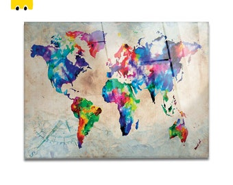 Plexiglass square Prints on acrylic glass-World Map Color-Yellow BUS